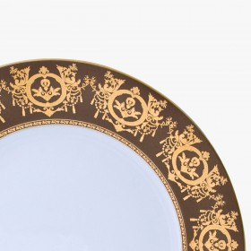 Large dinner plate, 'Imperial' Collection, Taupe