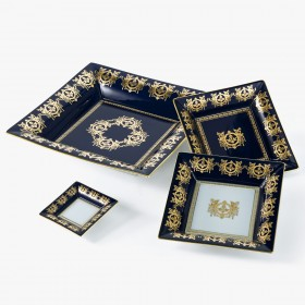 Blue 'Imperial' Collection change tray with white background 18,5 x 18,5 cm
