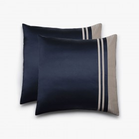 Set of 2 Vendôme squared pillowcases, navy & havana
