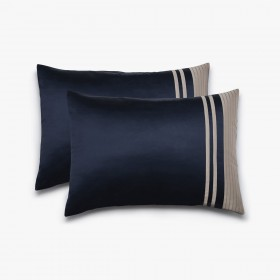 Set of 2 Vendôme rectangular pillowcases, navy & havana