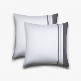 Set of 2 Vendôme squared pillowcases, white & titanium