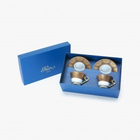 2 Tea cups and saucers Gift Box set, Collection, Imperial, taupe