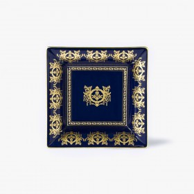 Blue 'Imperial' Collection change tray with taupe background 18,5 x 18,5 cm