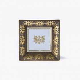 Taupe 'Imperial' Collection change tray with white background 18,5 x 18,5 cm