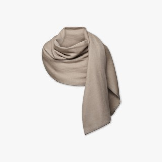 Reversible Cashmere Stole Beige and Ivory