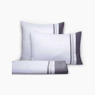 Set of Vendôme Sheets, White and Titanium