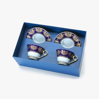 "2 Tea cups and saucers Gift Box set, ""Imperial"" Collection, blue"