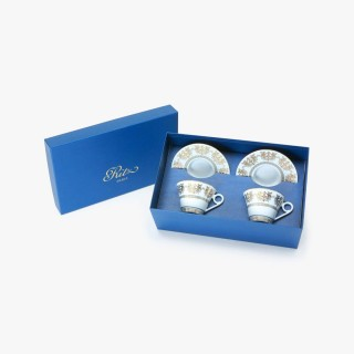 "2 Tea cups and saucers Gift Box set ""Imperial"" Collection, white"