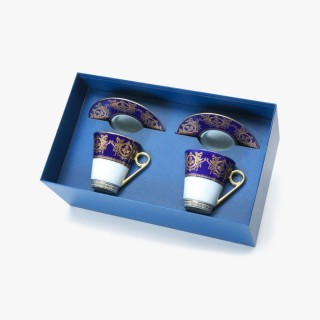 """2 Breakfast cups and saucers Gft Box set, """"Imperial"""" Collection, blue"""
