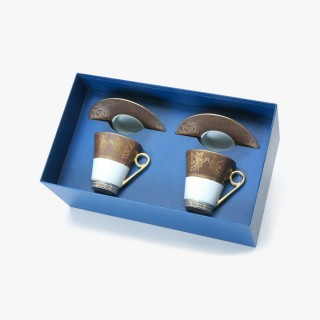 2 Breakfast cups and saucers Gift Box set, Collection, Imperial, taupe