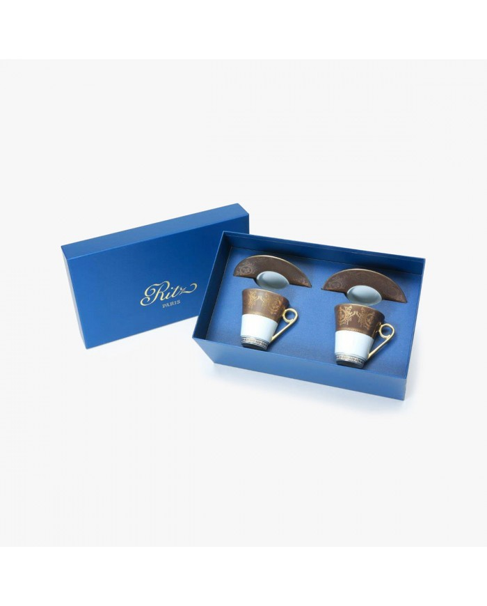 2 Coffee cups and saucers Gift Box set, Collection, Imperial, taupe