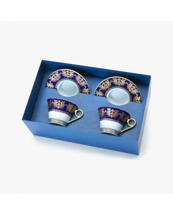 """2 Tea cups and saucers Gift Box set, """"Imperial"""" Collection, blue"""