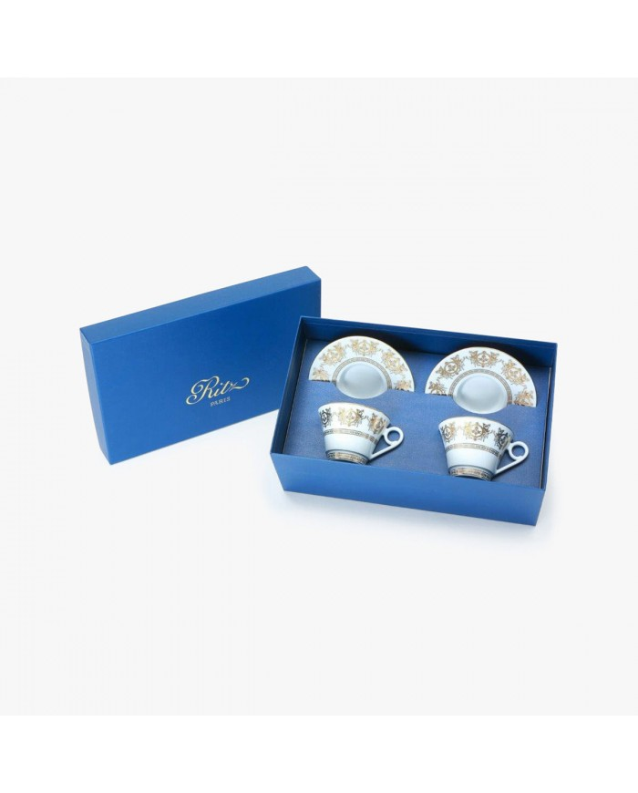 2 Tea cups and saucers Gift Box set, Collection, Imperial, white