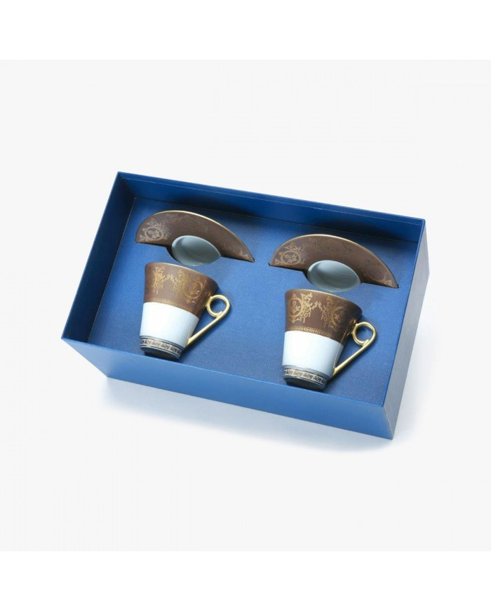 """2 Breakfast cups and saucers Gift Box set, """"Imperial"""" Collection, taupe"""