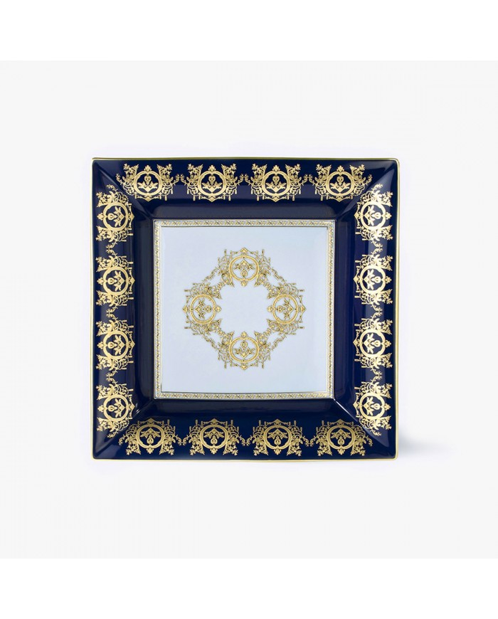 Blue 'Imperial' Collection change tray with white background 30 x 30 cm